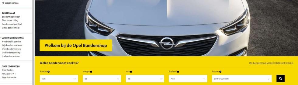 Ga direct naar de officiële bandenshop van alle Nederlandse Opel dealers (Banden.opeldealers.nl)  Gecertificeerde Opel banden, altijd op voorraad, snel & veilig betalen en gemonteerd door de Opel dealer.